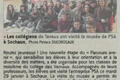 Le collège visite les locaux de PSA à Sochaux